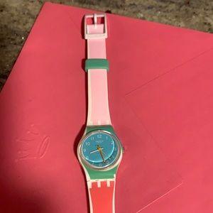 Rare Swatch Watch LW146 De Travers Pink Green blue